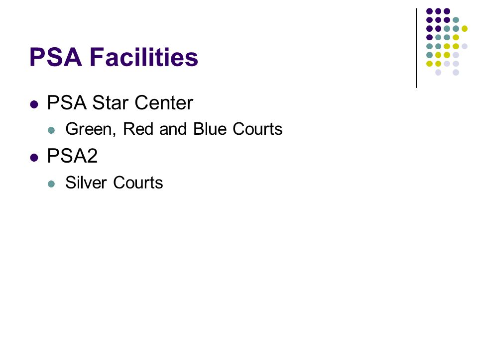 PSA Facilities PSA Star Center Green, Red and Blue Courts PSA2 Silver Courts