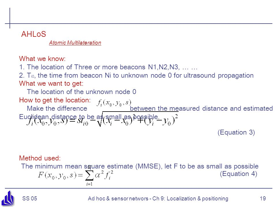 SS 05Ad hoc & sensor networs - Ch 9: Localization & positioning19 What we know: 1.