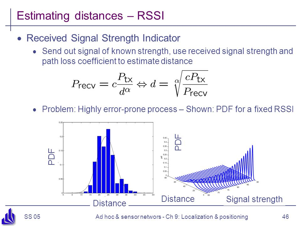 SS 05Ad hoc & sensor networs - Ch 9: Localization & positioning46 Estimating distances – RSSI Received Signal Strength Indicator Send out signal of known strength, use received signal strength and path loss coefficient to estimate distance Problem: Highly error-prone process – Shown: PDF for a fixed RSSI Distance Signal strength PDF