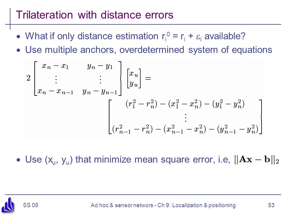 SS 05Ad hoc & sensor networs - Ch 9: Localization & positioning53 Trilateration with distance errors What if only distance estimation r i 0 = r i + i available.