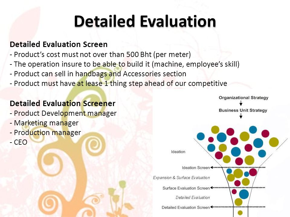 Detailed Evaluation Detailed Evaluation Screen - Products cost must not over than 500 Bht (per meter) - The operation insure to be able to build it (machine, employees skill) - Product can sell in handbags and Accessories section - Product must have at lease 1 thing step ahead of our competitive Detailed Evaluation Screener - Product Development manager - Marketing manager - Production manager - CEO