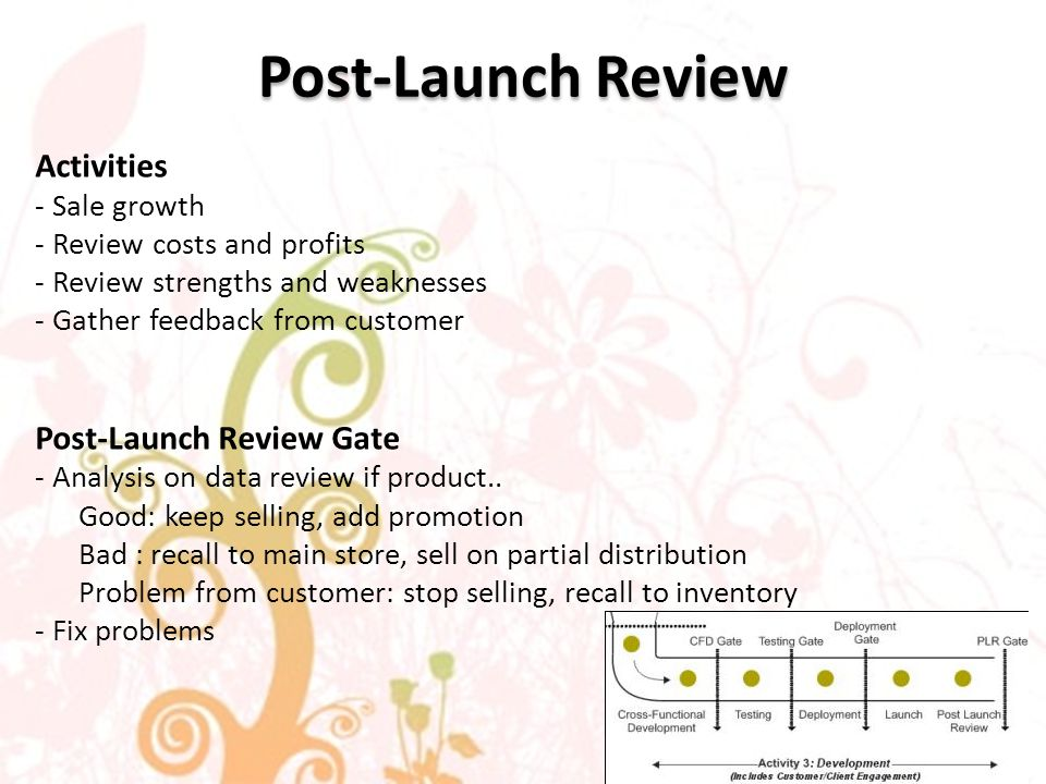 Post-Launch Review Activities - Sale growth - Review costs and profits - Review strengths and weaknesses - Gather feedback from customer Post-Launch Review Gate - Analysis on data review if product..