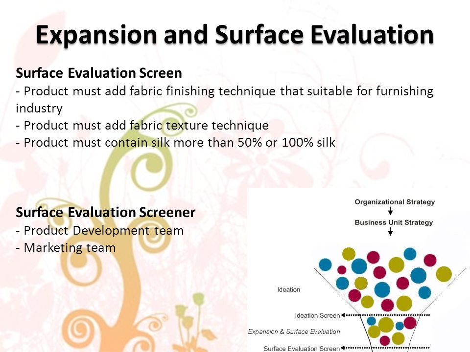 Expansion and Surface Evaluation Surface Evaluation Screen - Product must add fabric finishing technique that suitable for furnishing industry - Product must add fabric texture technique - Product must contain silk more than 50% or 100% silk Surface Evaluation Screener - Product Development team - Marketing team