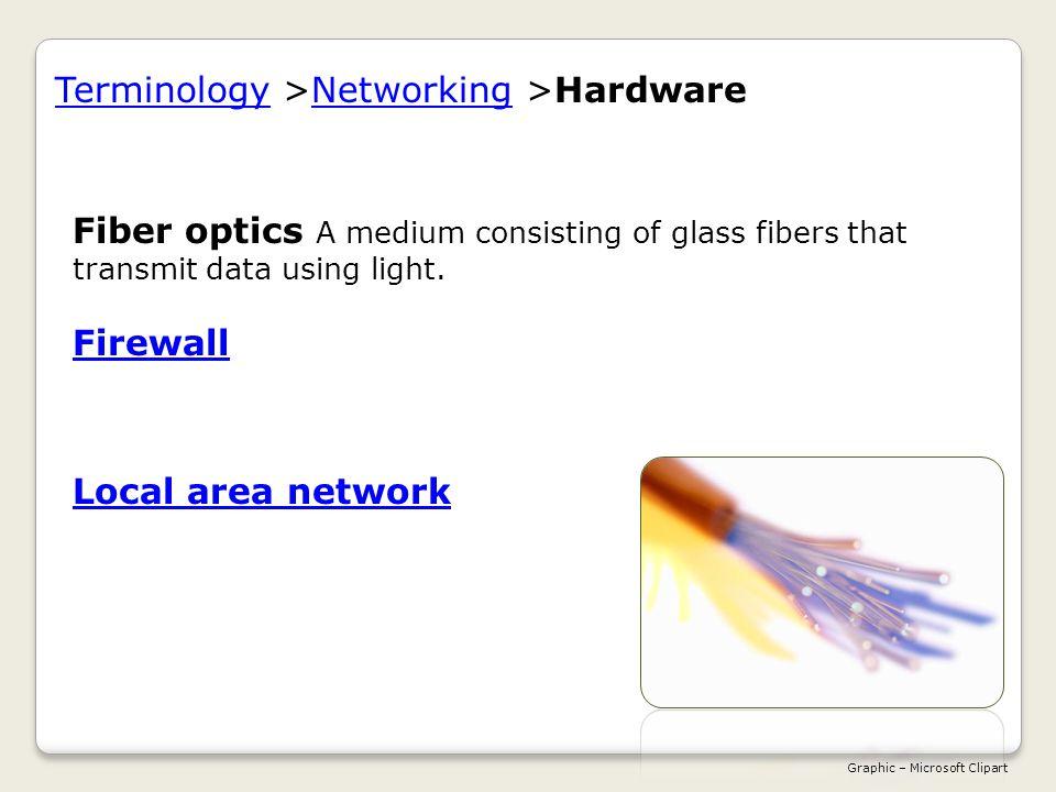 Fiber optics A medium consisting of glass fibers that transmit data using light.