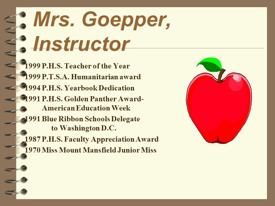 Mrs.Goepper, Instructor 4 1999 P.H.S. Teacher of the Year 4 1999 P.T.S.A.