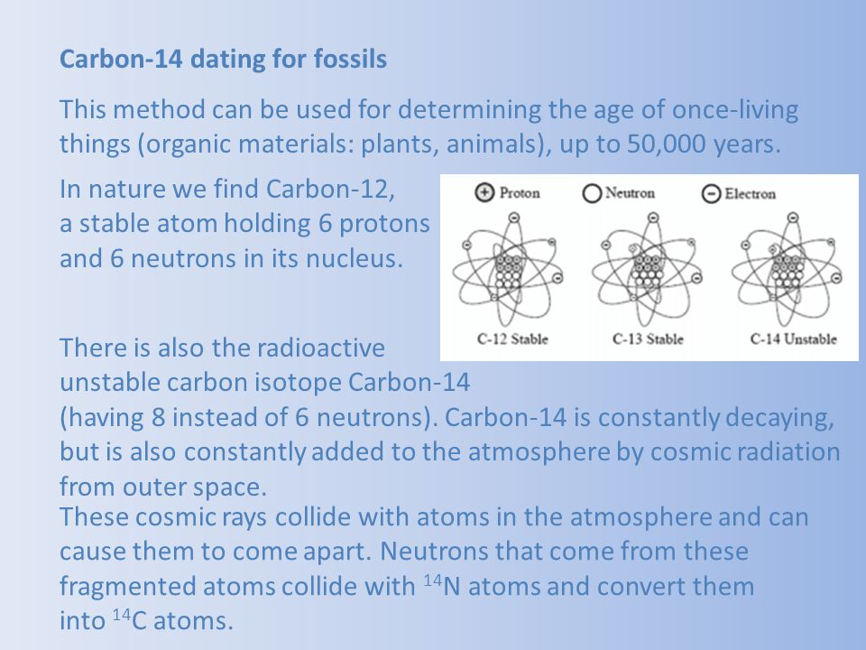 Carbon-14 dating for fossils This method can be used for determining the age of once-living things (organic materials: plants, animals), up to 50,000