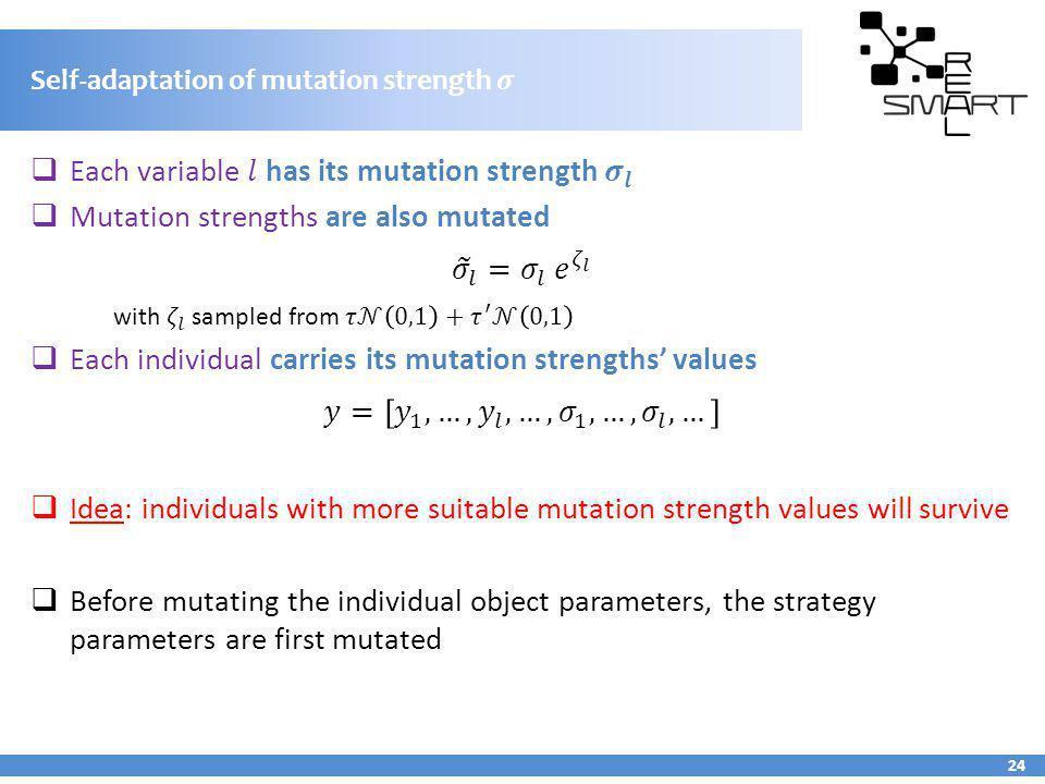 Self-adaptation of mutation strength 24