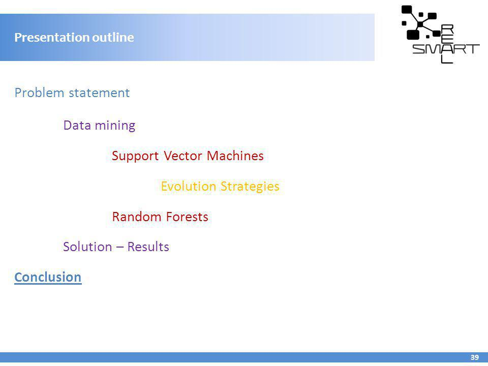 Presentation outline 39 Problem statement Data mining Support Vector Machines Evolution Strategies Random Forests Solution – Results Conclusion