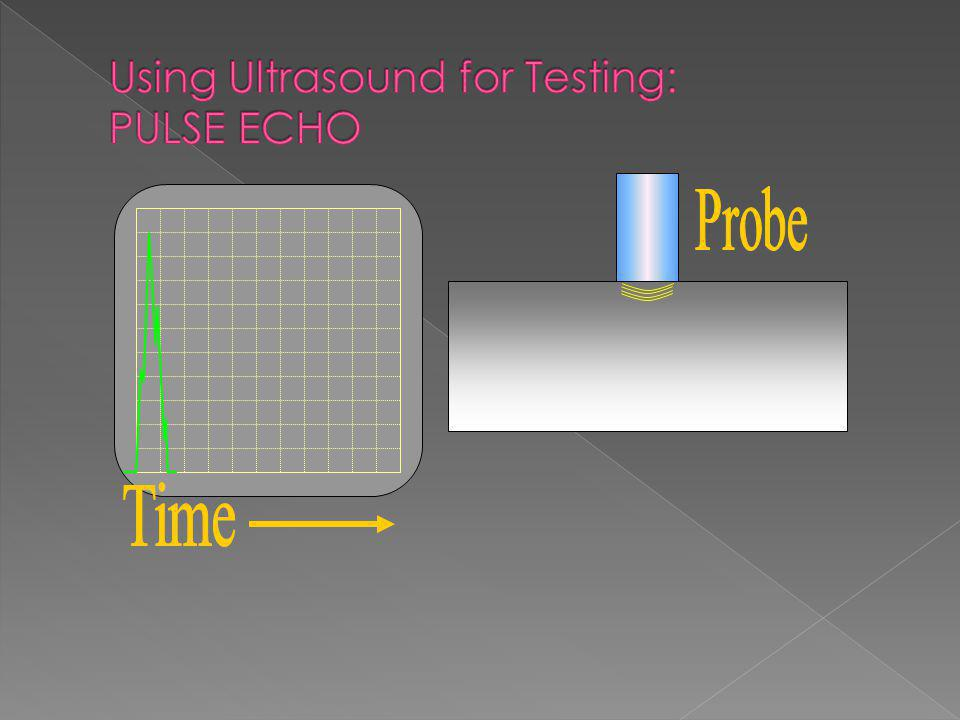 Single probe sends and receives sound Gives an indication of defect depth and dimensions