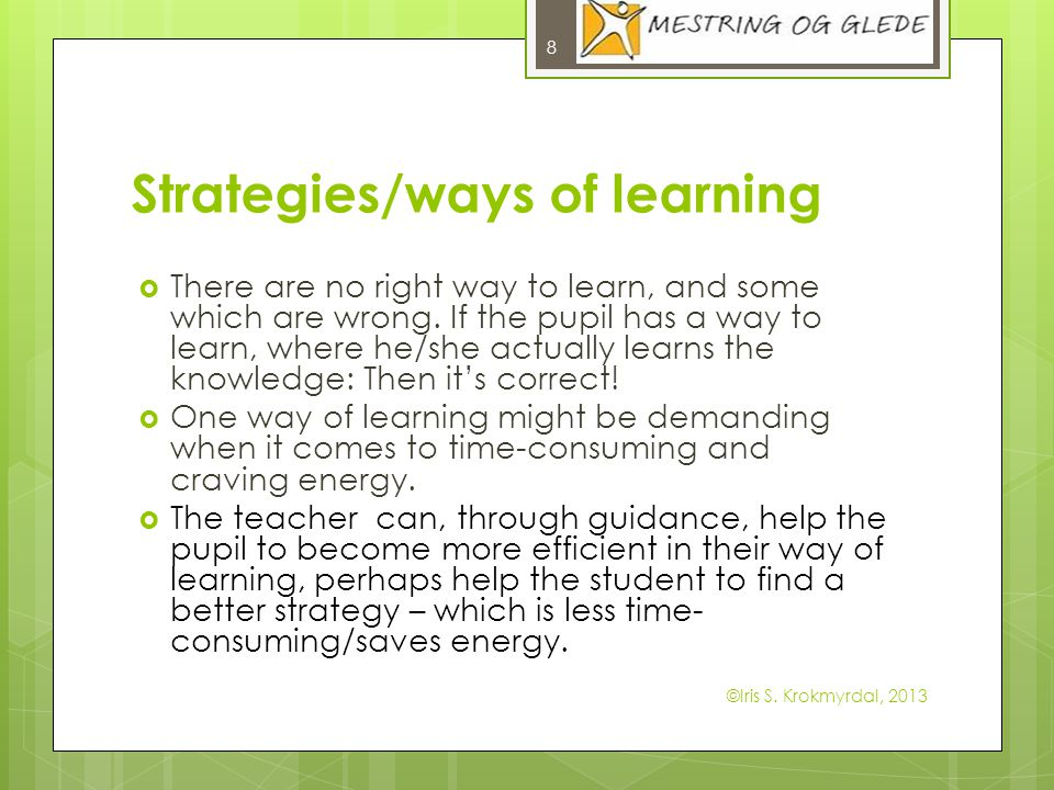 Strategies/ways of learning There are no right way to learn, and some which are wrong. If the pupil has a way to learn, where he/she actually learns t