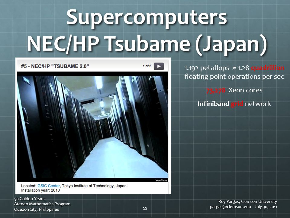 Supercomputers NEC/HP Tsubame (Japan) Roy Pargas, Clemson University pargas@clemson.edu July 30, 2011 50 Golden Years Ateneo Mathematics Program Quezo
