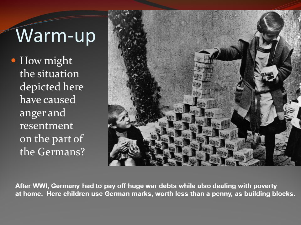 Warm-up How might the situation depicted here have caused anger and resentment on the part of the Germans.