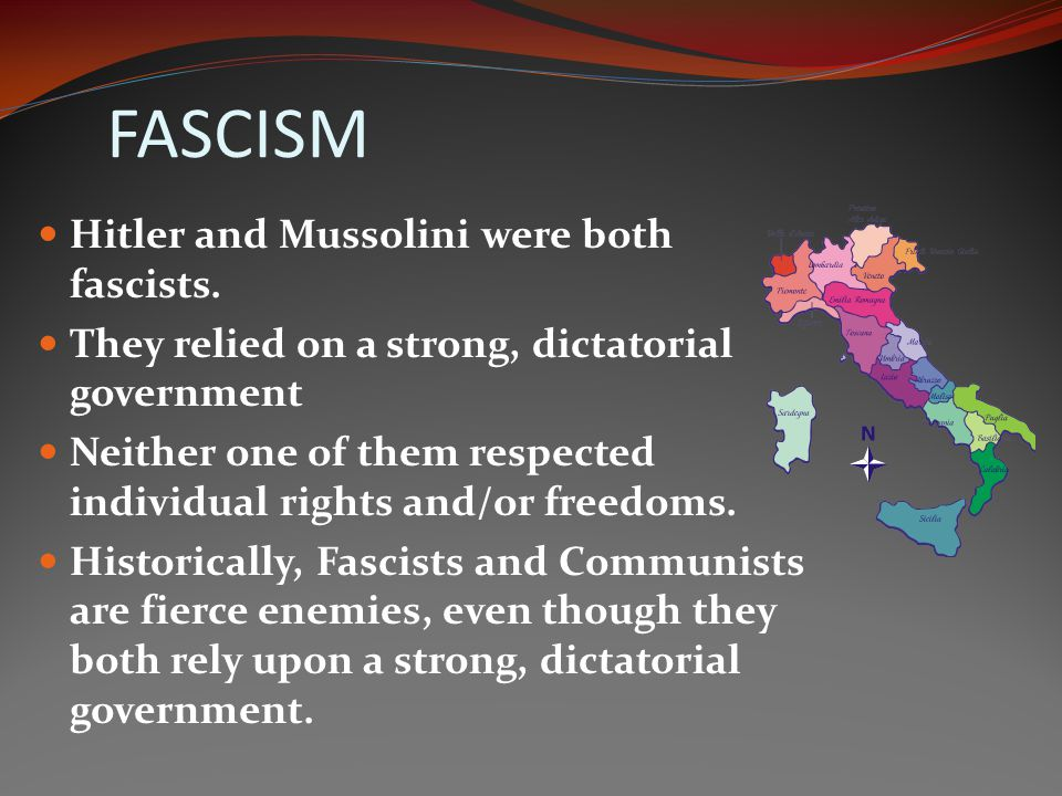 FASCISM A philosophy of governing style which emphasizes the importance of the nation or an ethnic group AND the supreme authority of the leader.