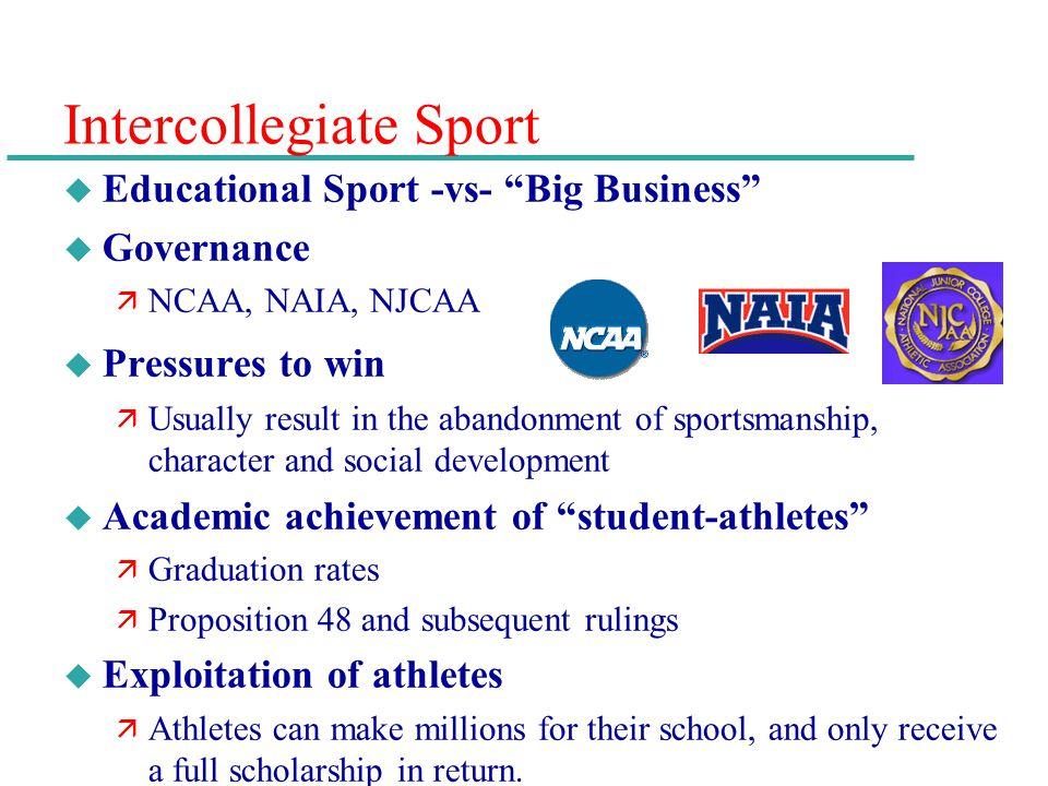Intercollegiate Sport u Educational Sport -vs- Big Business u Governance ä NCAA, NAIA, NJCAA u Pressures to win ä Usually result in the abandonment of
