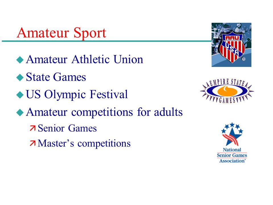 Amateur Sport u Amateur Athletic Union u State Games u US Olympic Festival u Amateur competitions for adults ä Senior Games ä Masters competitions