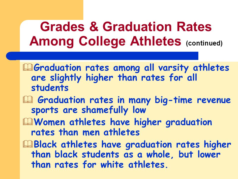 Grades & Graduation Rates Among College Athletes (continued) &Graduation rates among all varsity athletes are slightly higher than rates for all stude