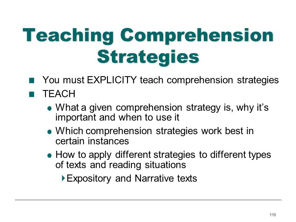 110 Teaching Comprehension Strategies You must EXPLICITY teach comprehension strategies TEACH What a given comprehension strategy is, why its importan