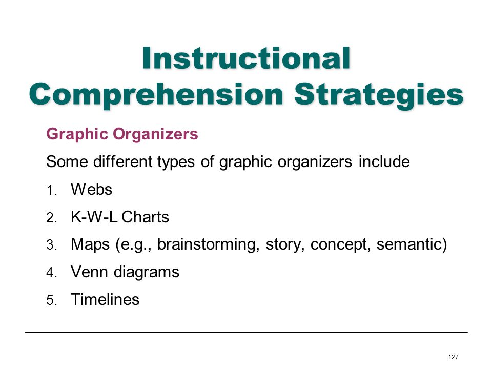 127 Instructional Comprehension Strategies Graphic Organizers Some different types of graphic organizers include 1. Webs 2. K-W-L Charts 3. Maps (e.g.