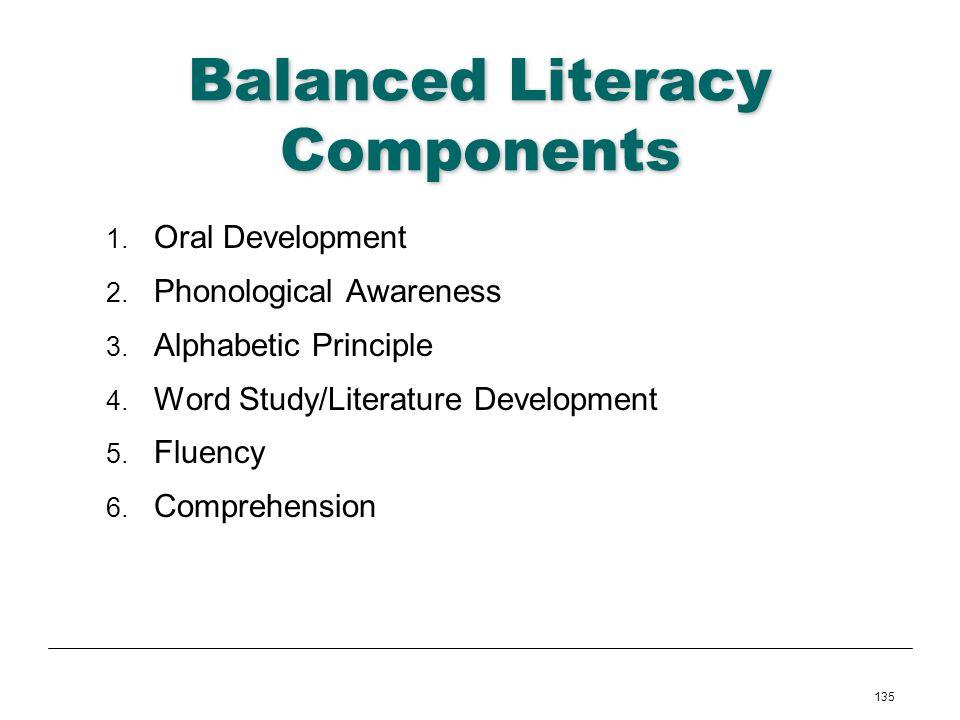 135 Balanced Literacy Components 1. Oral Development 2. Phonological Awareness 3. Alphabetic Principle 4. Word Study/Literature Development 5. Fluency