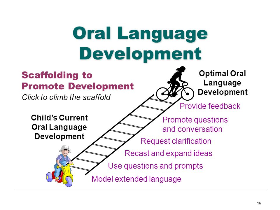 16 Oral Language Development Childs Current Oral Language Development Model extended language Use questions and prompts Recast and expand ideas Reques