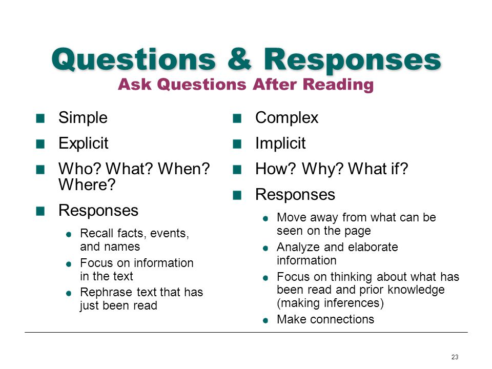 23 Questions & Responses Simple Explicit Who? What? When? Where? Responses Recall facts, events, and names Focus on information in the text Rephrase t