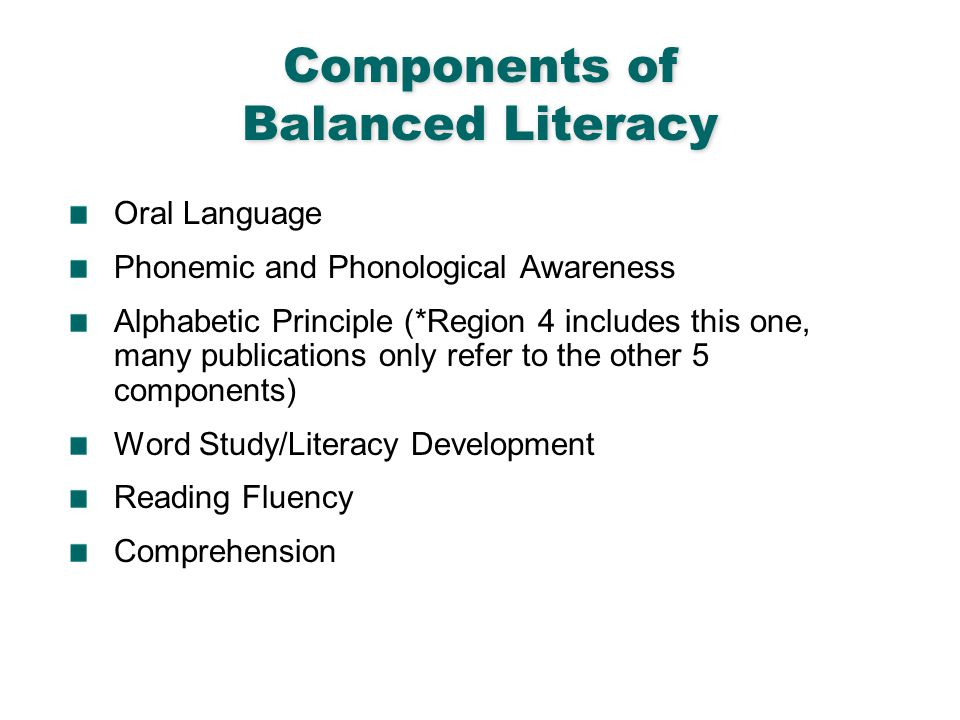 English Language Arts & Reading 6 Components of Balanced Literacy Oral Language Phonemic and Phonological Awareness Alphabetic Principle (*Region 4 in