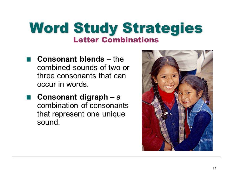 81 Word Study Strategies Consonant blends – the combined sounds of two or three consonants that can occur in words. Consonant digraph – a combination