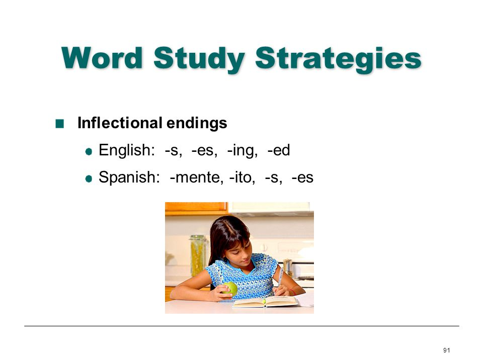 91 Word Study Strategies Inflectional endings English: -s, -es, -ing, -ed Spanish: -mente, -ito, -s, -es