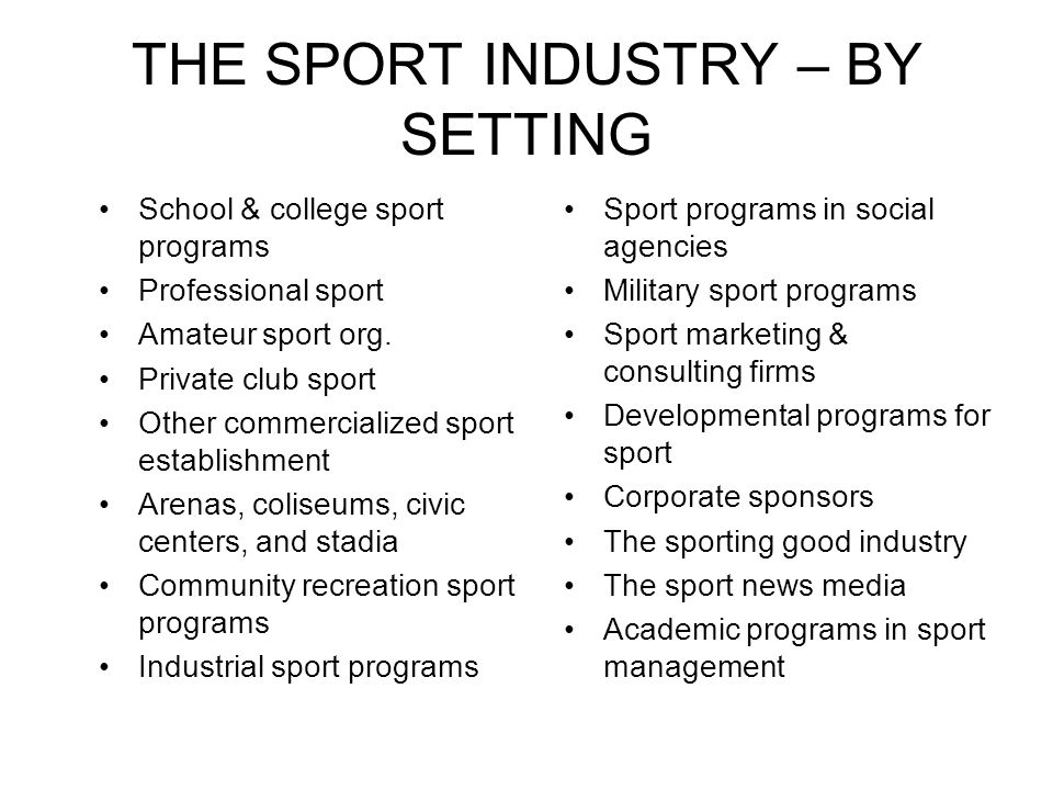 THE SPORT INDUSTRY – BY SETTING School & college sport programs Professional sport Amateur sport org.