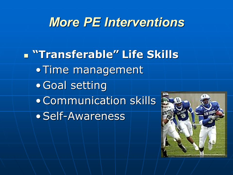 More PE Interventions Transferable Life Skills Transferable Life Skills Time managementTime management Goal settingGoal setting Communication skillsCommunication skills Self-AwarenessSelf-Awareness