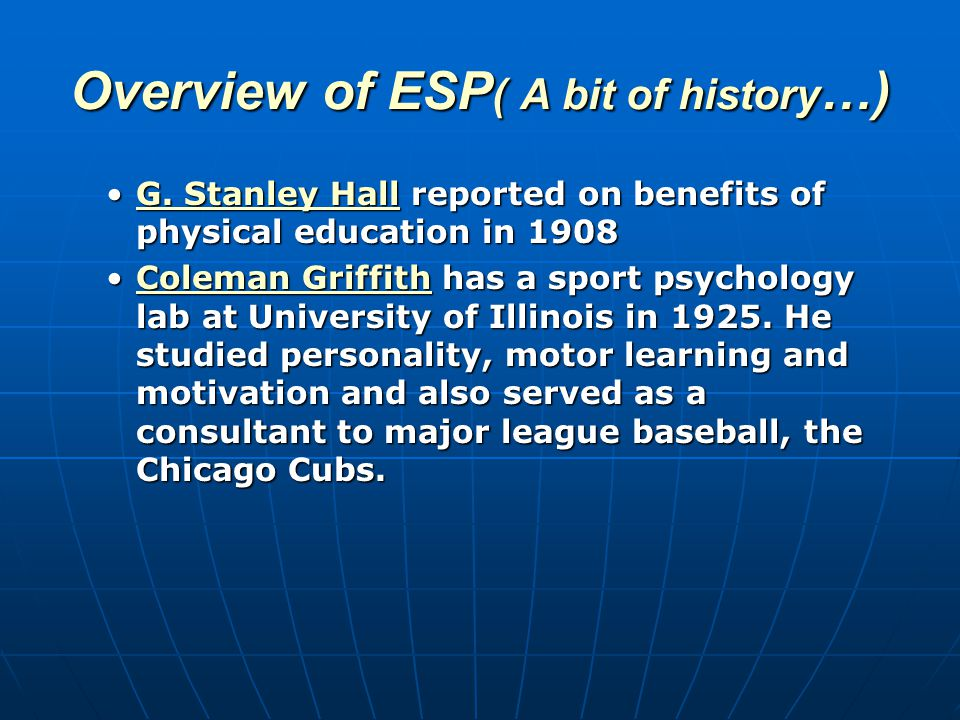 Overview of ESP ( A bit of history …) G.