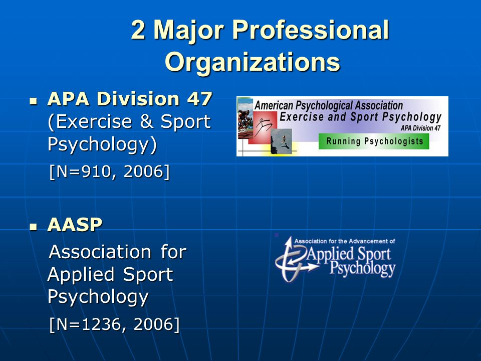 2 Major Professional Organizations 2 Major Professional Organizations APA Division 47 (Exercise & Sport Psychology) APA Division 47 (Exercise & Sport Psychology) [N=910, 2006] [N=910, 2006] AASP AASP Association for Applied Sport Psychology Association for Applied Sport Psychology [N=1236, 2006] [N=1236, 2006]