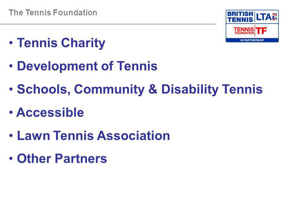 The Tennis Foundation Tennis Charity Development of Tennis Schools, Community & Disability Tennis Accessible Lawn Tennis Association Other Partners