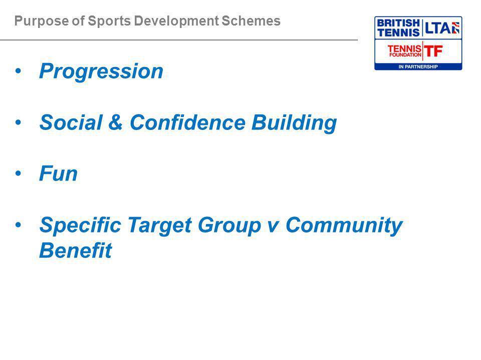 Purpose of Sports Development Schemes Progression Social & Confidence Building Fun Specific Target Group v Community Benefit