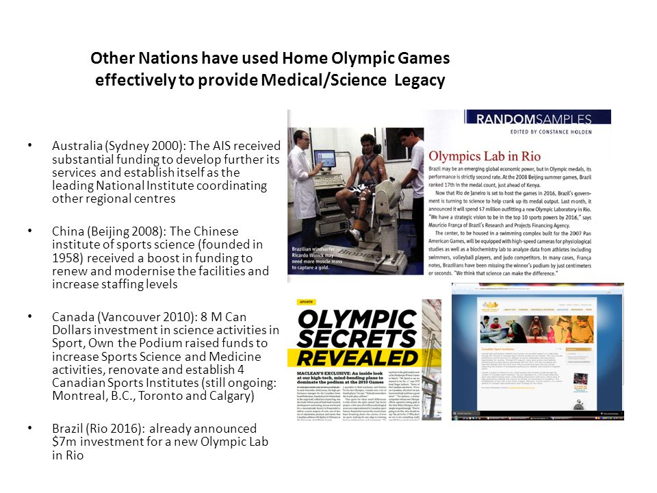 2012 Olympics: Health Legacy The UCH / UCL Institute of Sport, Exercise and Health could deliver a unique national and international function It could lead a national collaboration to deliver excellence in sports and exercise medicine and allied fields It could be the principal concrete sustainable high quality high profile 2012 health legacy