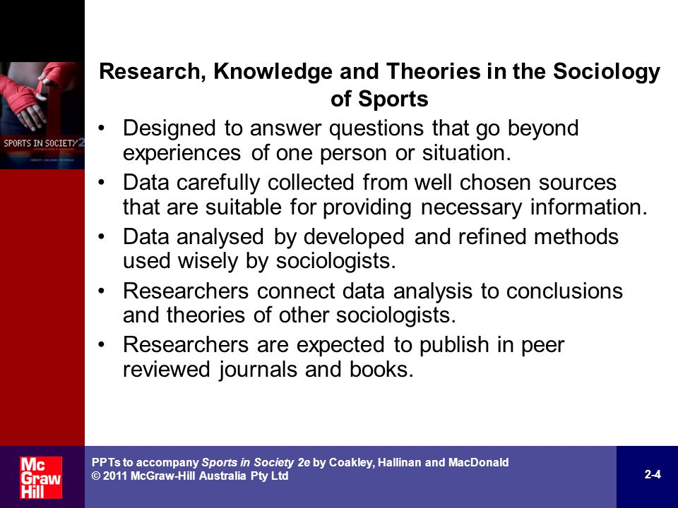 Seven-Step Process of Developing Knowledge in the Sociology of Sports 1.Observe social world and ask questions.