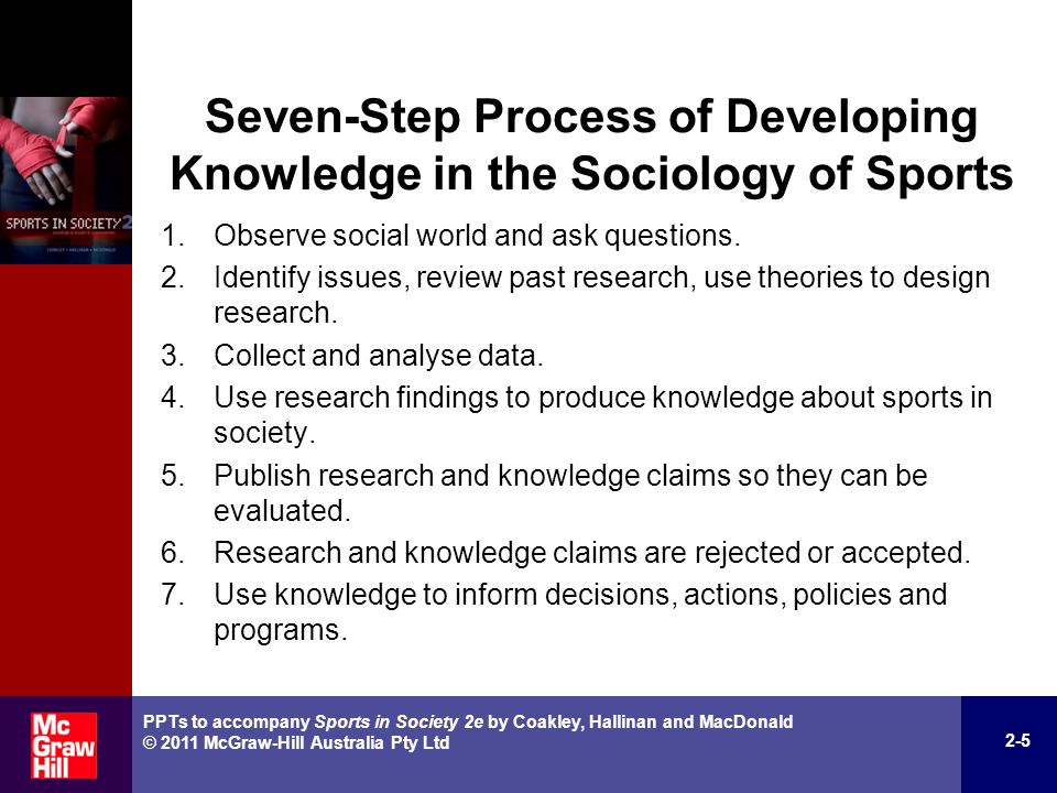 Three Major Theories in the Sociology of Sports Cultural Theories meaning, symbols, language, values, norms, ideas, beliefs and ideology Interactionist Theories socialisation, role models, significant others, self-concept and identity Structural Theories status, roles, authority, power, power relations, social control, social class, social inequality, social institutions 2-6 PPTs to accompany Sports in Society 2e by Coakley, Hallinan and MacDonald © 2011 McGraw-Hill Australia Pty Ltd