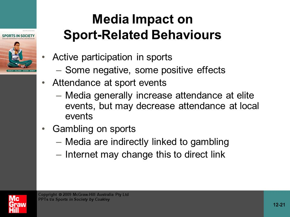 12-21 Copyright 2009 McGraw-Hill Australia Pty Ltd PPTs t/a Sports in Society by Coakley Media Impact on Sport-Related Behaviours Active participation