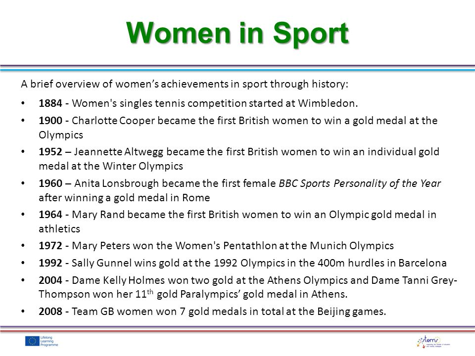 A brief overview of womens achievements in sport through history: 1884 - Women's singles tennis competition started at Wimbledon. 1900 - Charlotte Coo