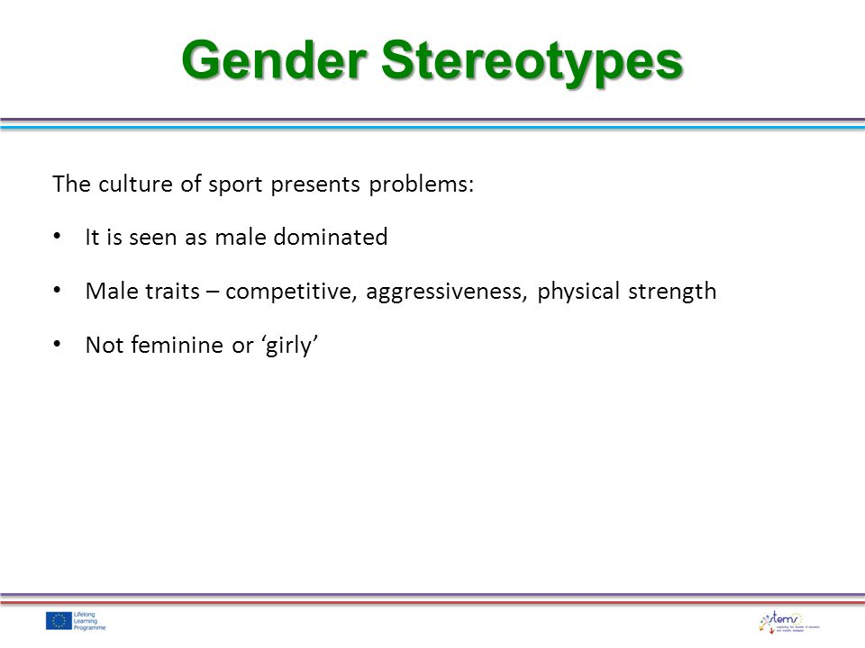What do you think the stereotypes are for the following athletes?: Male gymnast Female rugby player Male hockey player Female bodybuilder Task: Gender Stereotypes