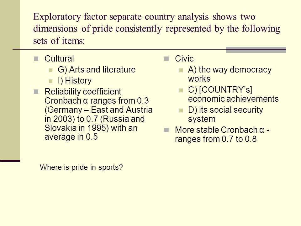Exploratory factor separate country analysis shows two dimensions of pride consistently represented by the following sets of items: Cultural G) Arts and literature I) History Reliability coefficient Cronbach α ranges from 0.3 (Germany – East and Austria in 2003) to 0.7 (Russia and Slovakia in 1995) with an average in 0.5 Civic A) the way democracy works C) [COUNTRYs] economic achievements D) its social security system More stable Cronbach α - ranges from 0.7 to 0.8 Where is pride in sports