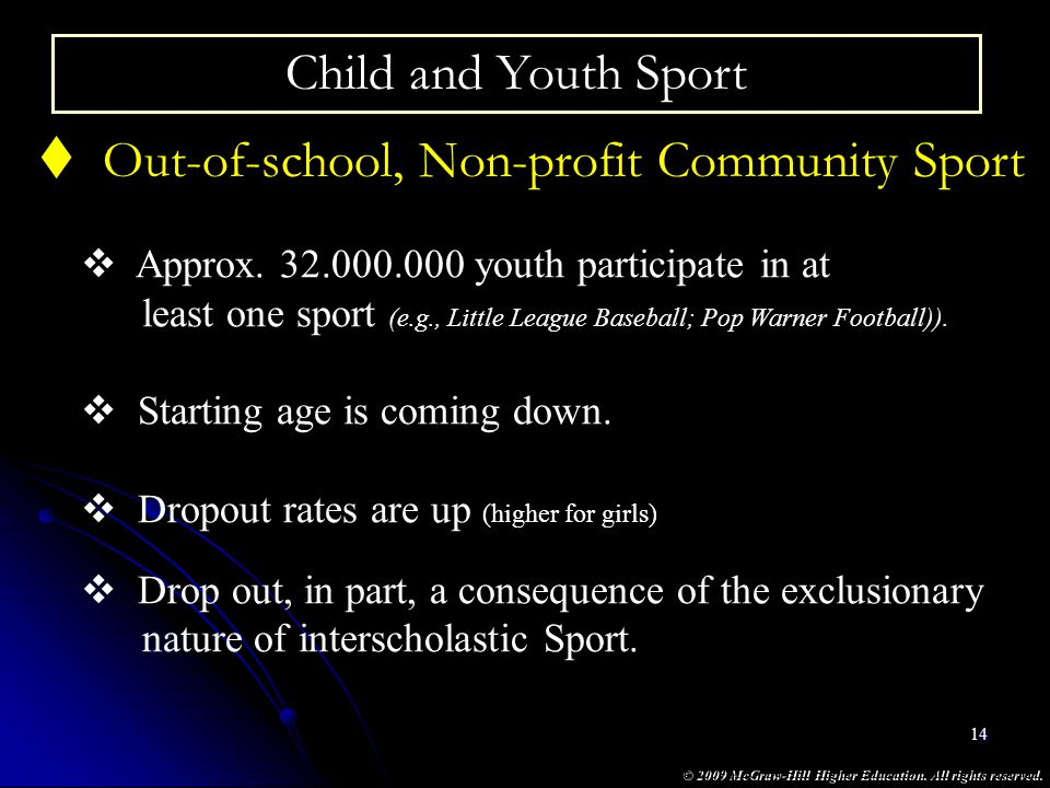 © 2009 McGraw-Hill Higher Education. All rights reserved. 14 Child and Youth Sport Out-of-school, Non-profit Community Sport Approx. 32.000.000 youth