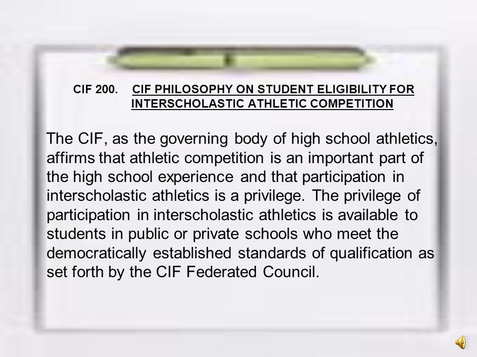 A.Keep the focus on athletic participation as a privilege, not a right; B.