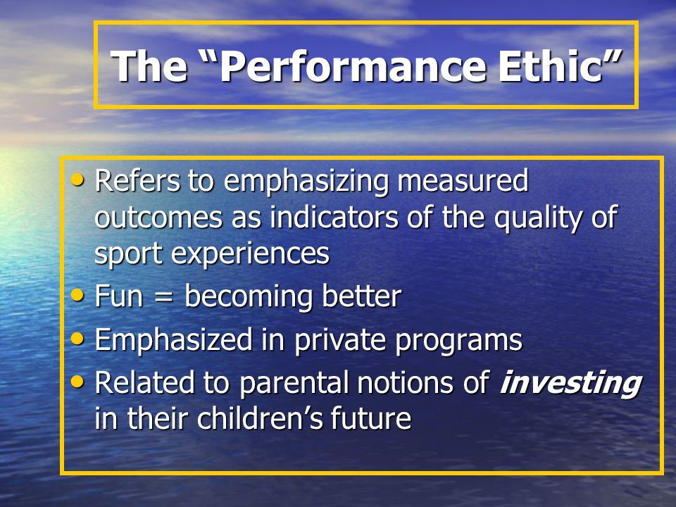 Elite Sport Training Programs Most common in private, commercial programs Most common in private, commercial programs Emphasize the potential for children to gain material rewards through sports Emphasize the potential for children to gain material rewards through sports Children often work long hours and become like laborers, but programs are not governed by child labor laws Children often work long hours and become like laborers, but programs are not governed by child labor laws Raise ethical issues about adult-child relationships Raise ethical issues about adult-child relationships