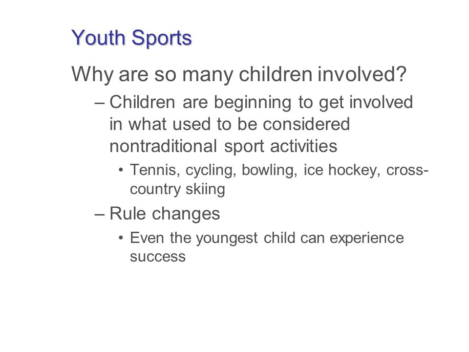 Bill of Rights of Young Athletes 1.Right of the opportunity to participate in sports regardless of ability level 2.Right to participate at a level that is commensurate with each childs developmental level 3.Right to have qualified adult leadership 4.Right to participate in safe and healthy environments 5.Right of each child to share in the leadership and decision making of his/her sport participation 6.Right to play as a child and not as an adult 7.Right to proper preparation for participation in the sport 8.Right to an equal opportunity to strive for success 9.Right to be treated with dignity by all involved 10.Right to have fun through sport