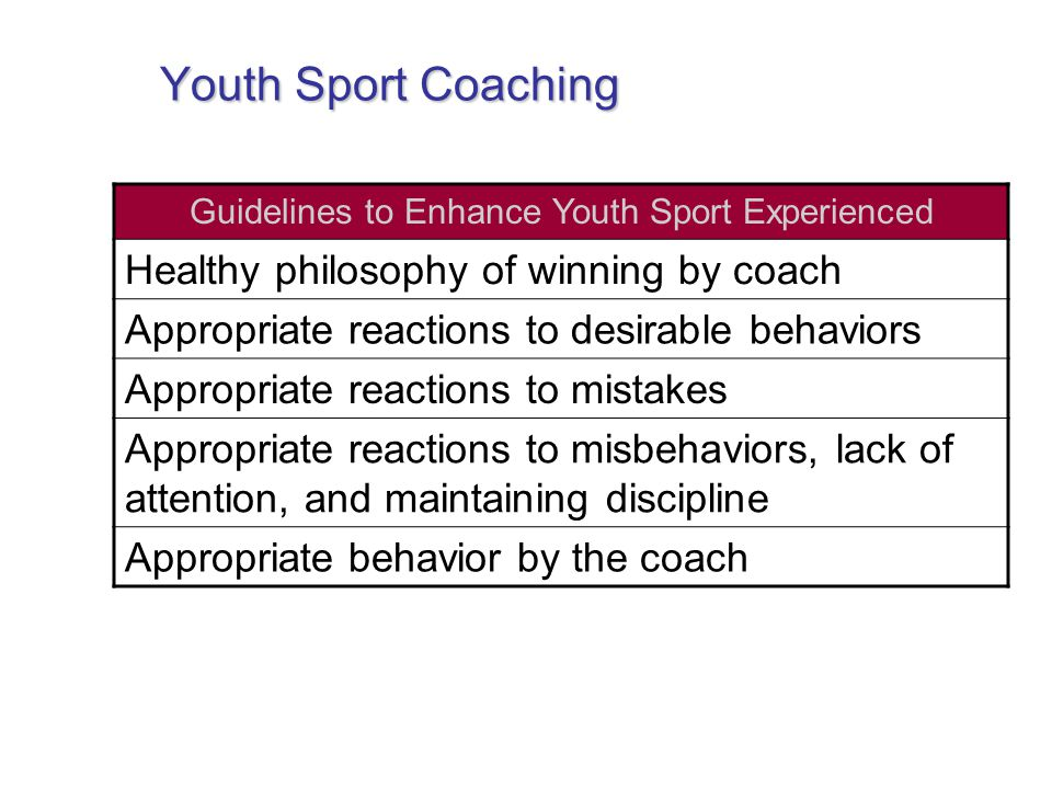 Youth Sport Coaching Guidelines to Enhance Youth Sport Experienced Healthy philosophy of winning by coach Appropriate reactions to desirable behaviors Appropriate reactions to mistakes Appropriate reactions to misbehaviors, lack of attention, and maintaining discipline Appropriate behavior by the coach