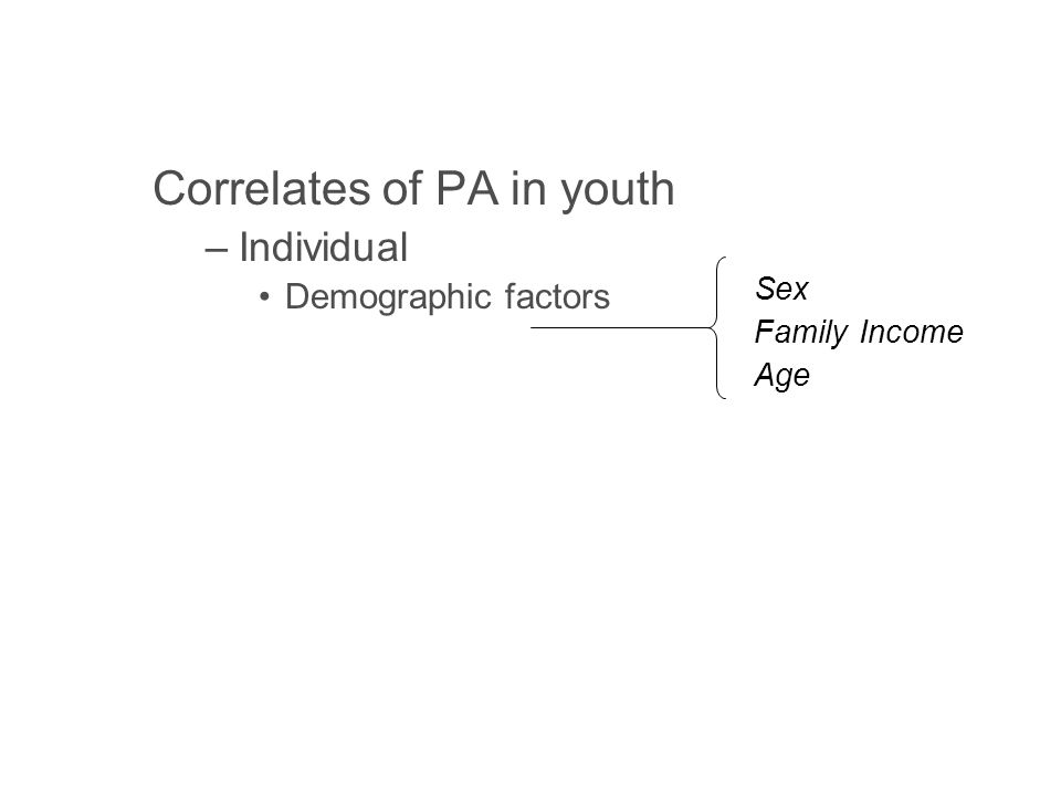 Correlates of PA in youth –Individual Demographic factors Psychological factors Social factors –Environmental Opportunity Accessibility Safety Aesthetics Sex Family Income Age