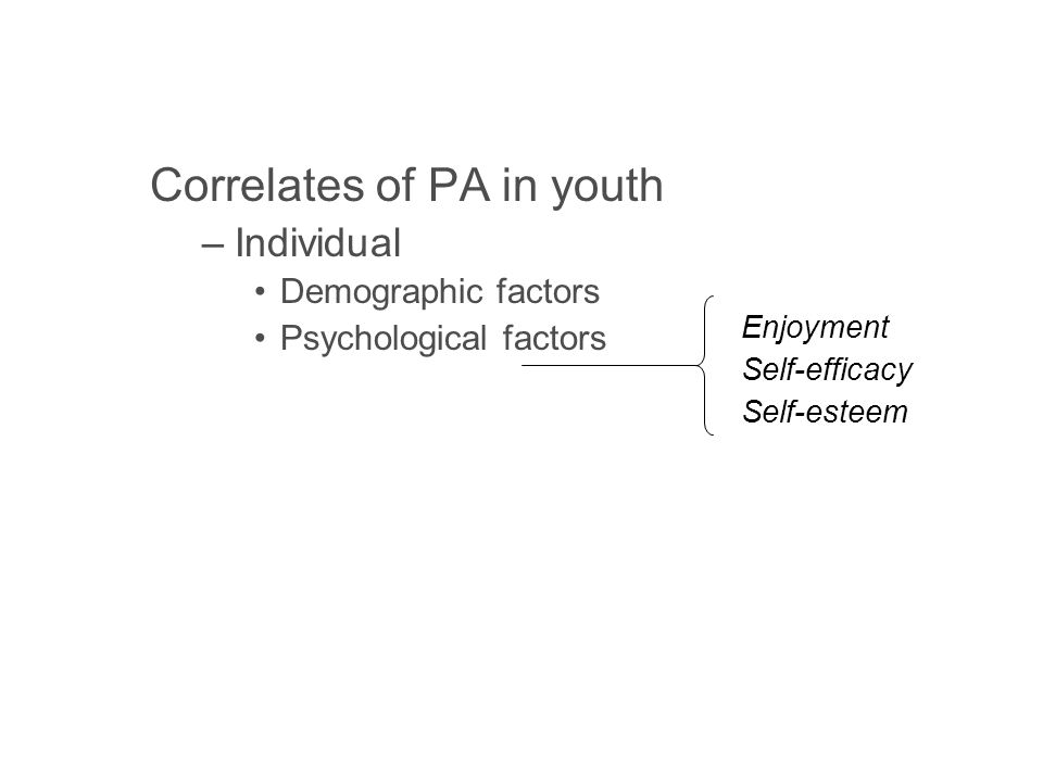 Correlates of PA in youth –Individual Demographic factors Psychological factors Social factors –Environmental Opportunity Accessibility Safety Aesthetics Enjoyment Self-efficacy Self-esteem