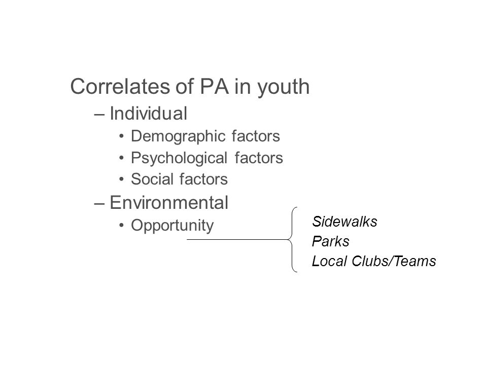 Correlates of PA in youth –Individual Demographic factors Psychological factors Social factors –Environmental Opportunity Accessibility Safety Aesthetics Sidewalks Parks Local Clubs/Teams