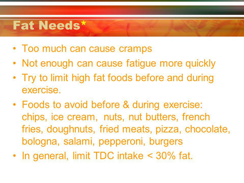 Fat Needs* Too much can cause cramps Not enough can cause fatigue more quickly Try to limit high fat foods before and during exercise.
